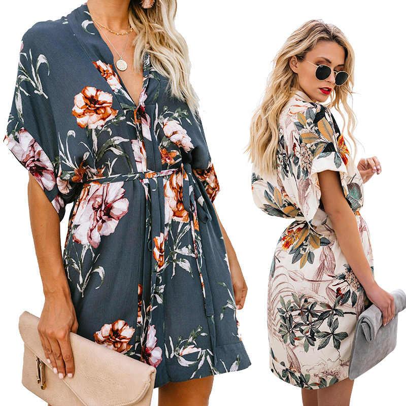 2019 весенне-летнее платье женское тонкое кружевное платье с v-образным вырезом, сексуальное платье в стиле бохо, женское повседневное пляжное мини-платье с цветочным принтом