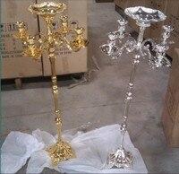 GOLD finish floor candelabra 85cm metal candle holder GOLD wedding candelabrum with nice flower bowl candle stick wedding decor