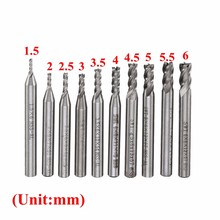 10Pcs/Set 10 Size 1.5-6mm HSS & Aluminum CNC 4 Flutes Blades End Milling Machine Assembled Cutter Router Drill Bit For Wood etc