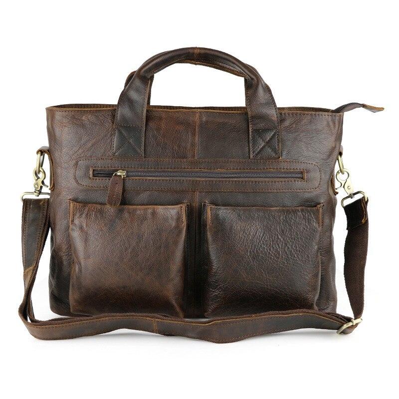 ФОТО Nesitu Vintage Brown Color Thick Genuine Leather Men Messenger Bags Cowhide 14'' Laptop Bag Man Briefcase Portfolio #M57