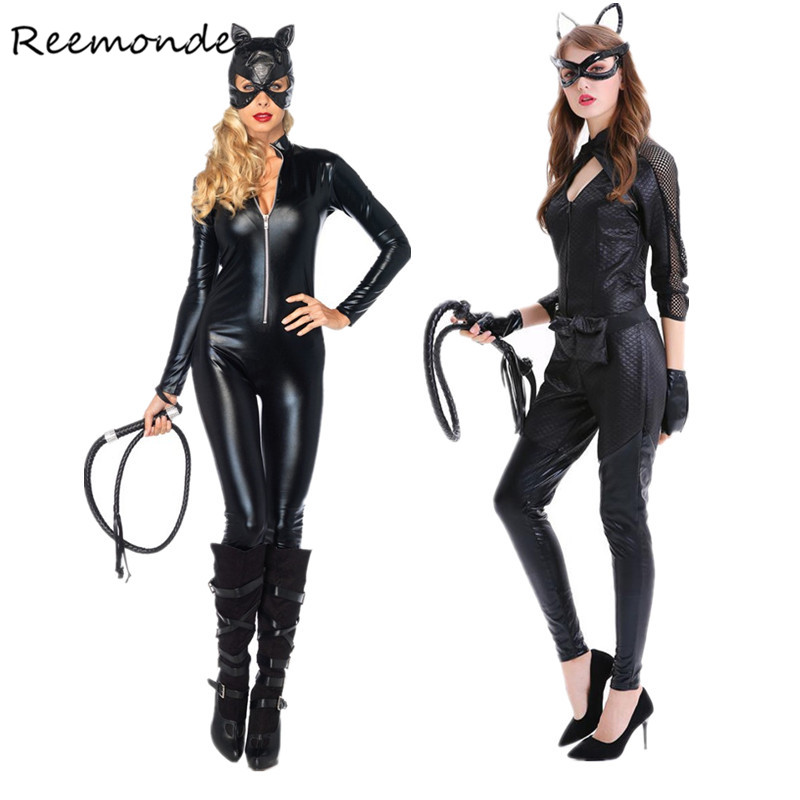 Adult Women Cat Women Cosplay Costumes Sexy Black Synthetic Leather Catsuit Jumpsuit With Whip Cosplay Halloween Fancy Dress