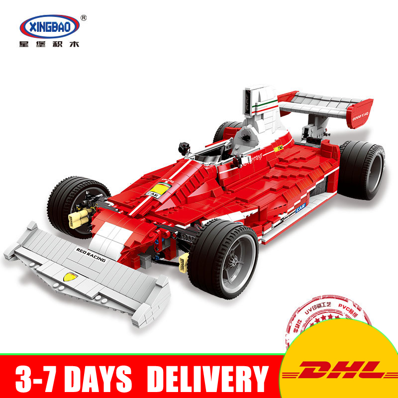 Presale XINGBAO 03023 Genuine The Red Power Racing Car Set Self-Locking Building Blocks Bricks Model Toy Christmas Gift for Kids black pearl building blocks kaizi ky87010 pirates of the caribbean ship self locking bricks assembling toys 1184pcs set gift