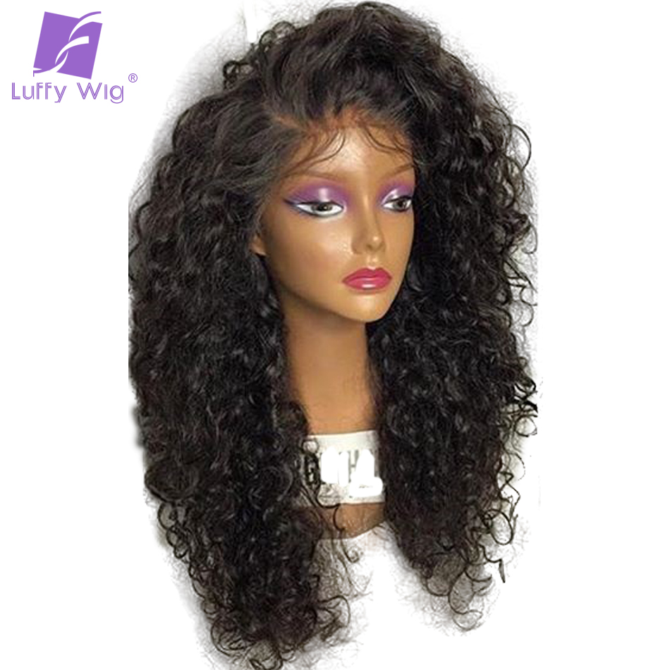 Luffy 180 Density Curly 13*6 Long Space Lace Front Human Hair Wigs With Baby Hair Pre Plucked Hairline Peruvian Non Remy 12-24