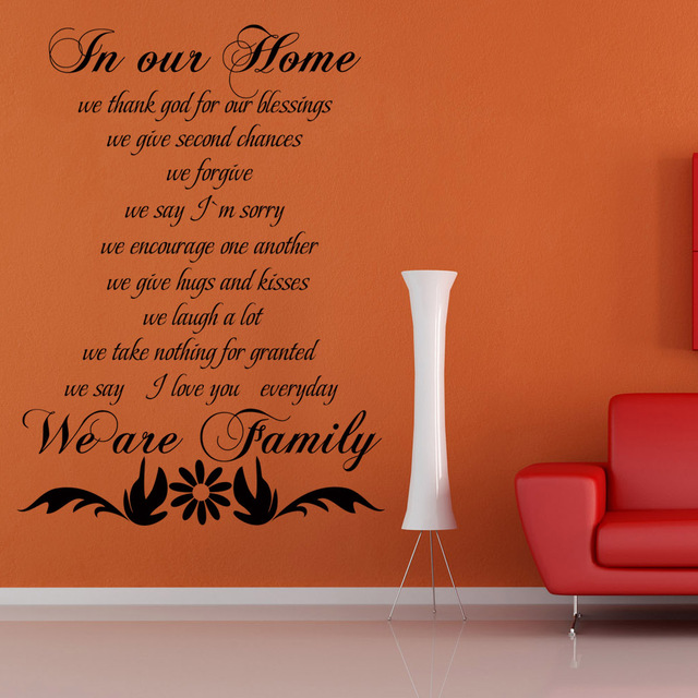 Family Wall Quote   In Our Home We Are Family   Living Room Vinyl Wall Decal