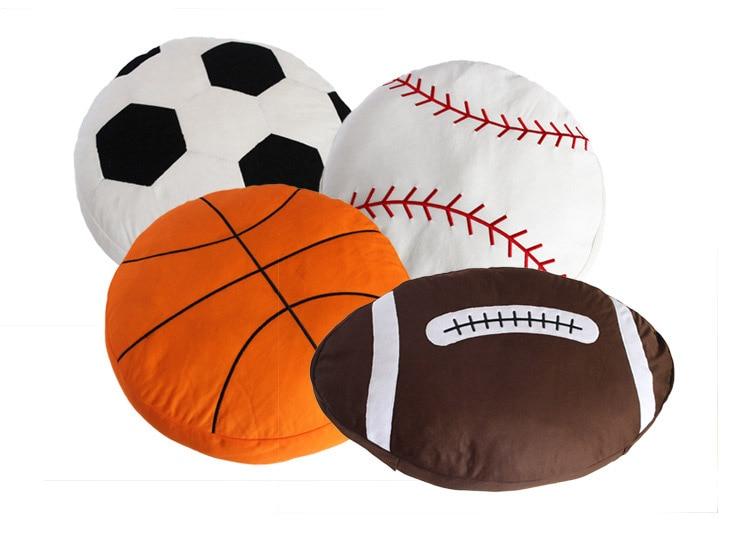 Free Shipping Novelty Gift Basketball Baseball Rugby Football Soccer Ball Home Bar Cafe Decorative Plush Cushion Pillow Toy