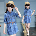 Girls Clothing Long Sleeve Denim Dresses 2017 Autumn Children Clothes Preppy Style Dress Kids Clothes 3 4 5 6 11 12 13 Years