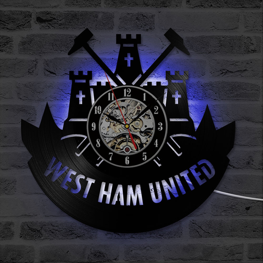 West Ham United Wall Clock With 7 Color Change Vinyl Record Clocks LED Wall Watch Modern Home Decoration Gifts For Football Fans