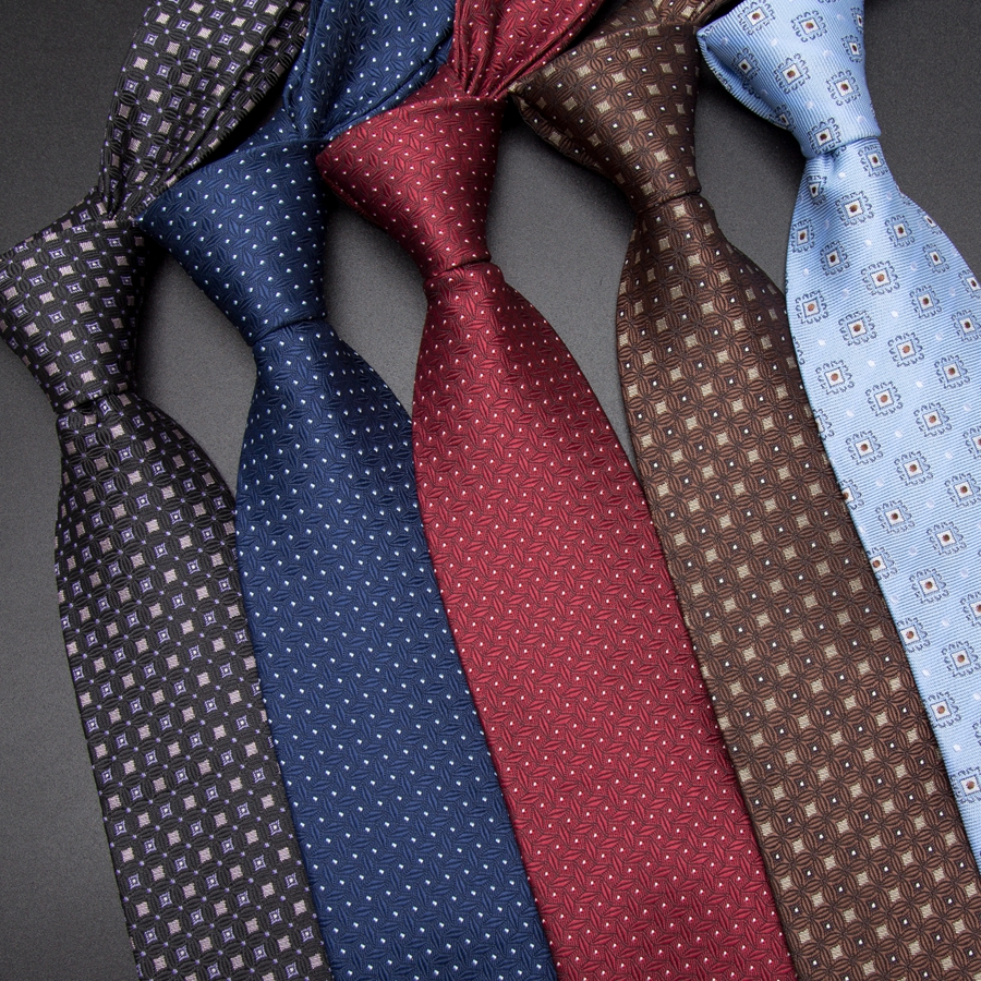 Men Tie 8cm Business Mens Fashion Striped Lattice Neckties Gravata Jacquard Bowtie Man's Wedding Dress Ties Shirt Accessories