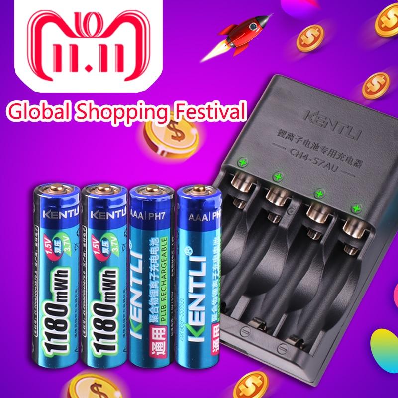 KENTLI 4pcs 1.5v aaa 1180mWh Rechargeable Li-ion Li-polymer Lithium battery + 4 slots AA AAA lithium Smart Charger kentli 4pcs 1 5v aa 3000mwh rechargeable li ion li polymer lithium battery 4 slots aa aaa lithium li ion smart charger