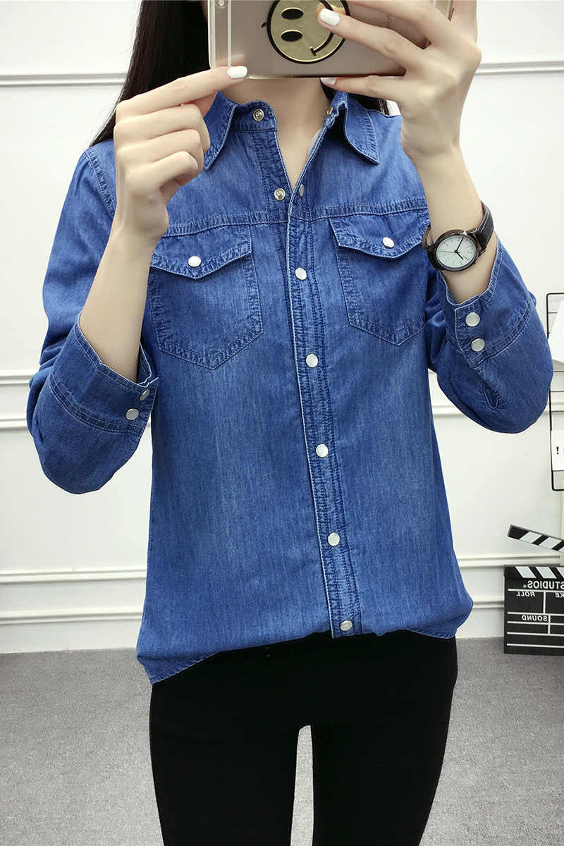 a9c2a126e15fe53 ... Новые осенне-зимние рубашки женские хлопок байковые блуза с длинным  рукавом джинсовая рубашка Повседневная фланелевые