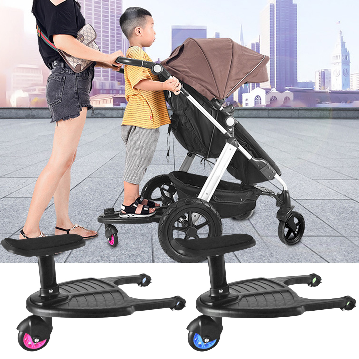 Stroller Auxiliary Pedal Wheeled Board Stroller Ride On Board With Detachable Seat For 3-7 Years Kids