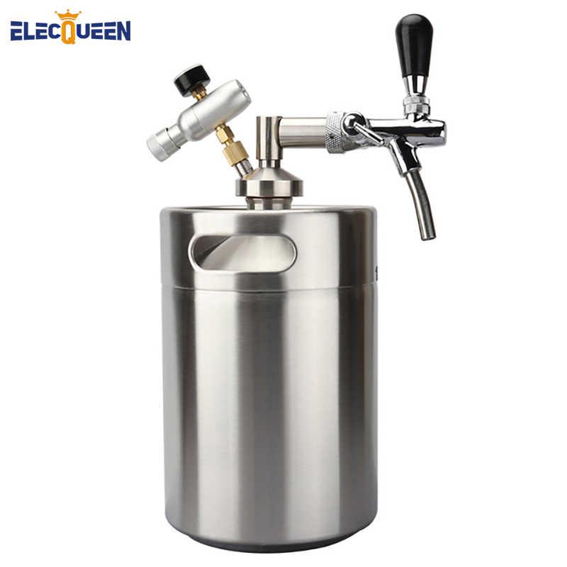 ステンレス鋼 5L ミニビール樽 Growler 調節可能なタップ蛇口と CO2 噴射装置プレミアム
