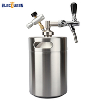 Stainless Steel 5L Mini Beer keg Growler With Adjustable Tap Faucet and CO2 Injector Premium