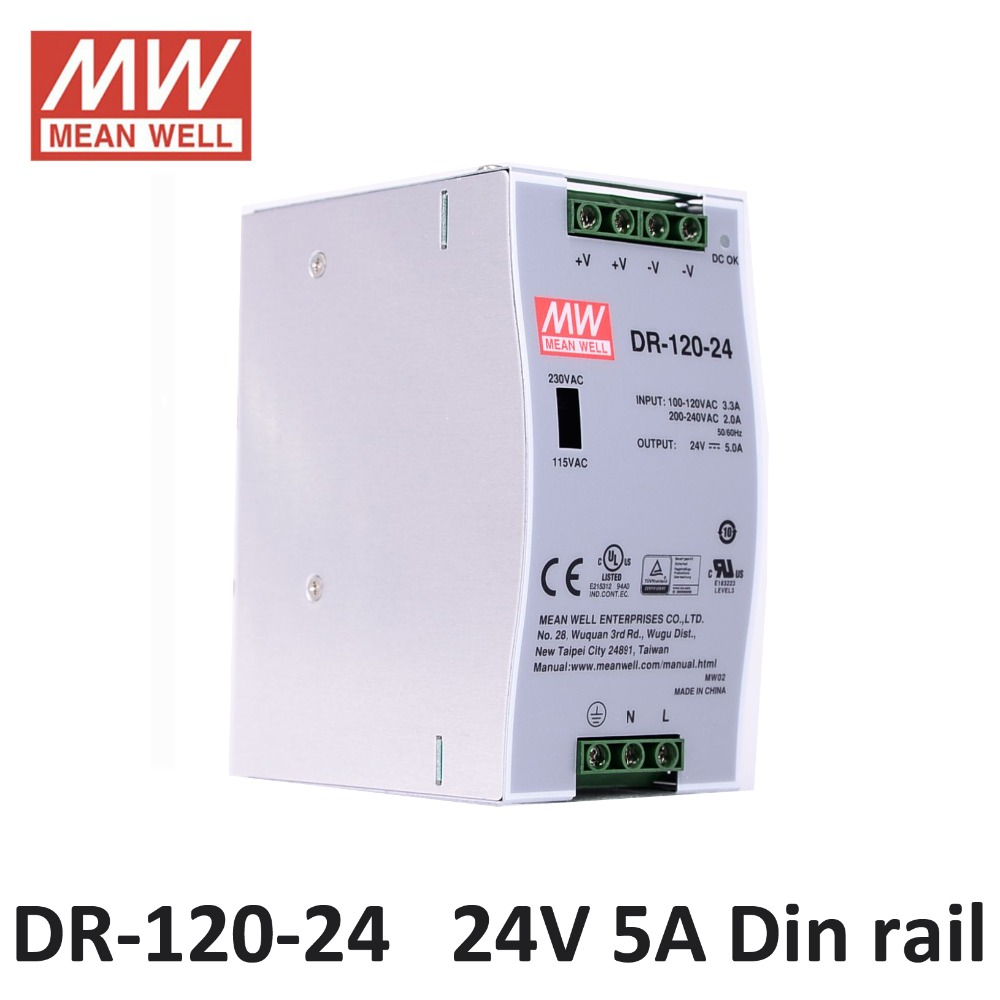 Din rail Power supply 24V DC 5A 120W MEAN WELL DR 120 24