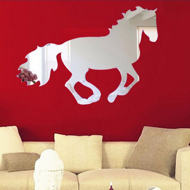 diy creative 25*35cm removable 3d mirror horse wall stickers bedroom