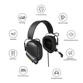 Game Headset Tactical Master - 008 Immersive Gaming Headset with Virtual 7.1 Surround Sound Game Headphones for PC PS4 Earphone 2