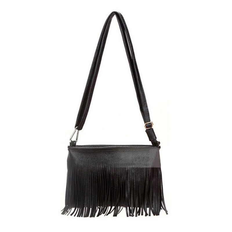 2017 New Leather Women  Messenger Bag Vintage Tassel Luxury Designer Shoulder Ba