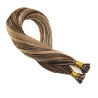 Moresoo I tip Hair Extensions #4 Highlights with #27 50g/set 1g/1s Keratin I Tip Hair Extensions 100 Remy Hair Extensions