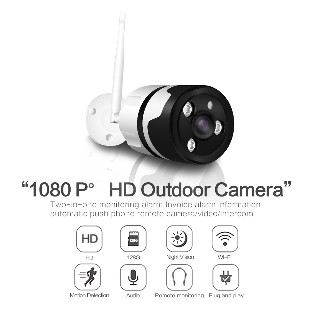 185 Degree 2MP 1080P font b Wireless b font Outdoor IP Bullet Camera