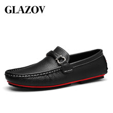 960086d21e GLAZOV Mocassins Homens Sapatos Masculinos Mocassins de Couro Genuíno  Apartamentos Casuais Confortáveis Barco Andando Motorista Calçados