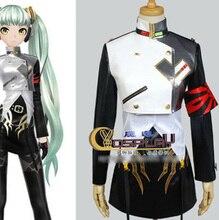 Vocaloid Diva-f Miku Cosplay Plata PU Uniforme Completo conjunto (Capa + Top + Dress + Brazal) disfraz de Halloween para las mujeres Por Encargo