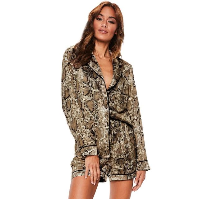 ddb631e15dbc Sexy Women s Snake Print Sleepwear Clothes Lounge Pajama Sets Spring ...