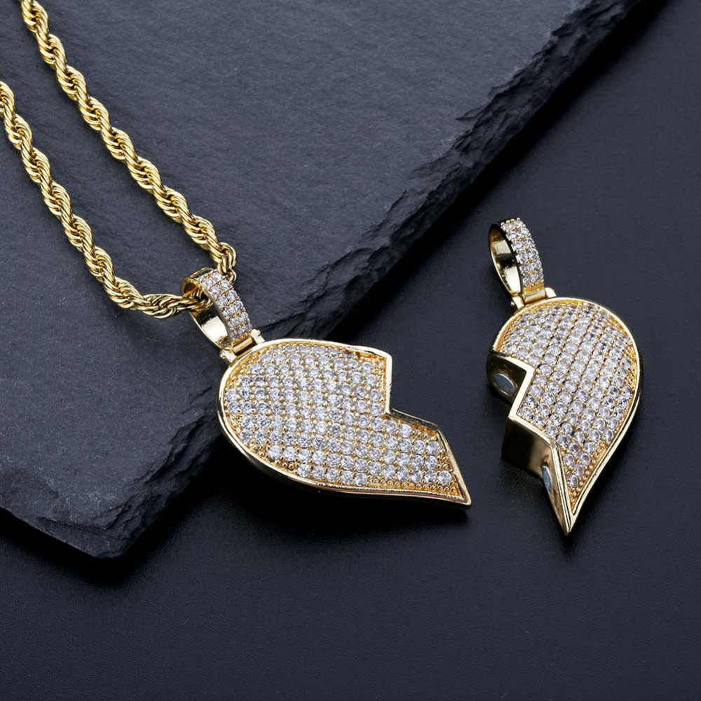 71aa5a1513fc5 JINAO Fashion Broken Heart Iced Out Chain Pendant Necklace Statement Gold  Color Cubic Zircon Necklace Hip Hop Men's Jewelry Gift