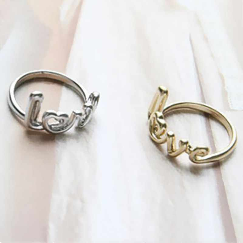 C433 European American Vintage Fashion Alloy Letter LOVE Finger Midi Tail Ring for Women Cheap Wedding Jewelry Anillo Gift