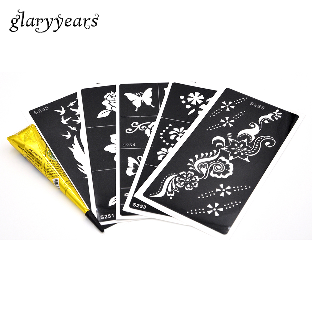 Bh1704 1 Piece Black Henna Cuff Tattoo With Flower Wrist: Aliexpress.com : Buy 5 Pieces Medium Henna Stencil + 1