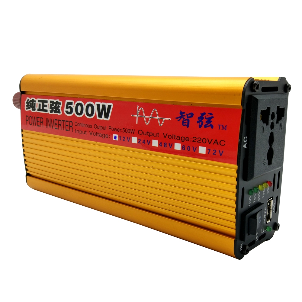 Continuous Power 500W Pure Sine Wave OFF Grid Inverter DC12V/24V to AC 220V 50HZ Power Inverter Converter Power Display/USB Port ce and rohs dc 48v to ac 100v 110v 120v 220v 230v 240v off grid 6000 watt pure sine wave inverter