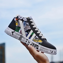 LettBao New Autumn Men's Vulcanized Shoes Mens High Top Sneakers Colorful Sneakers PU Leather Shoes Men Mens Printed Shoes