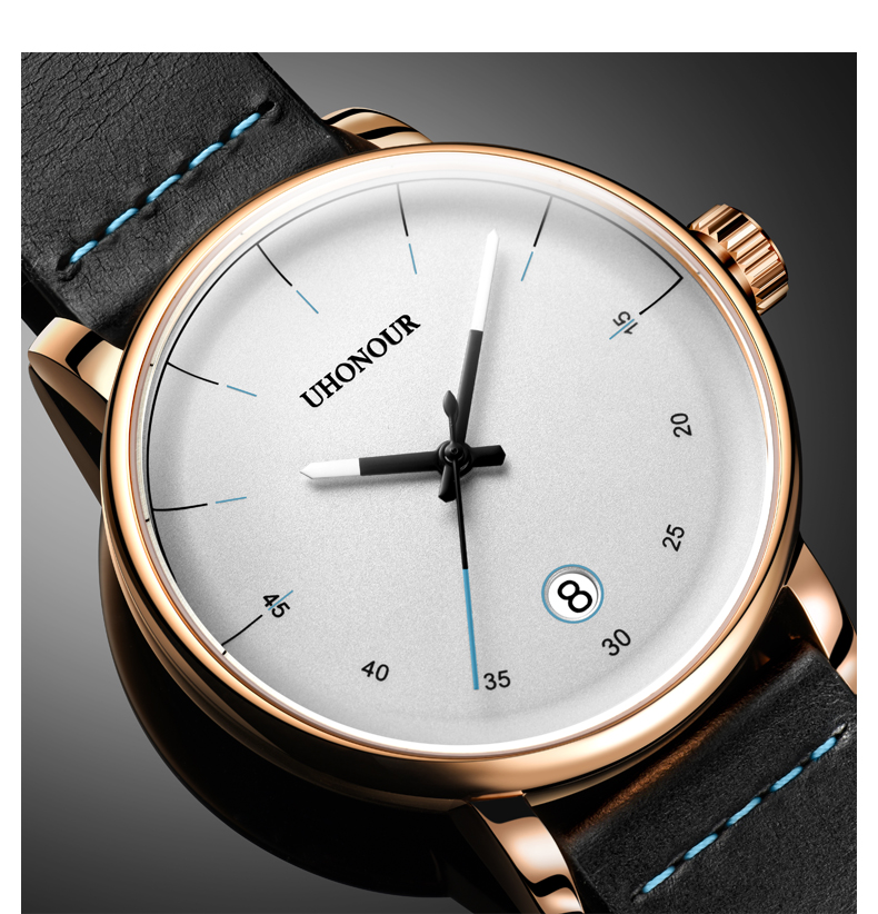 Men Automatic Mechanical Watch Japan Top 24jewels Movement Sapphire Genuine Leather Date Luxury Gift
