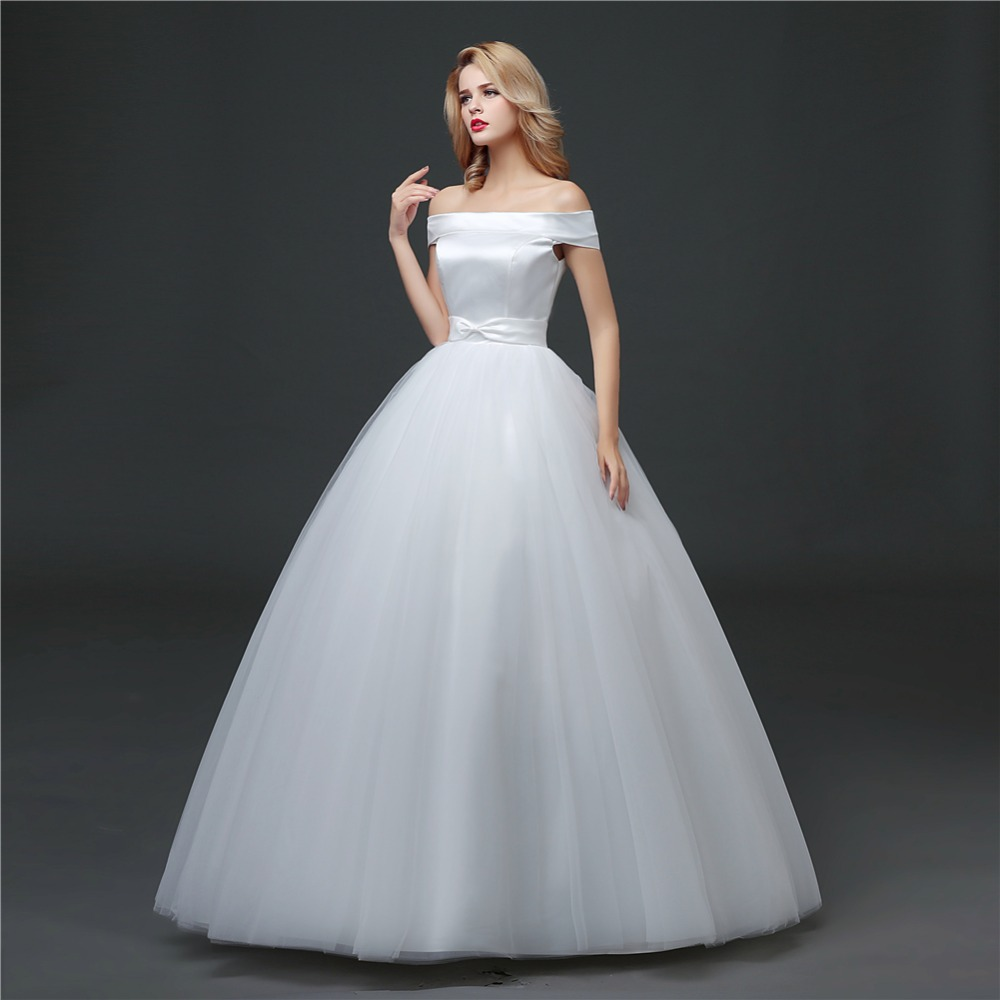 ruthshen Simple Ball Gown Wedding Dresses Off Shoulder Satin Tulle ...