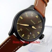 Parnis 47mm PVD Case Brown Dail Luminoso Movimiento Hombres Automáticos del Reloj