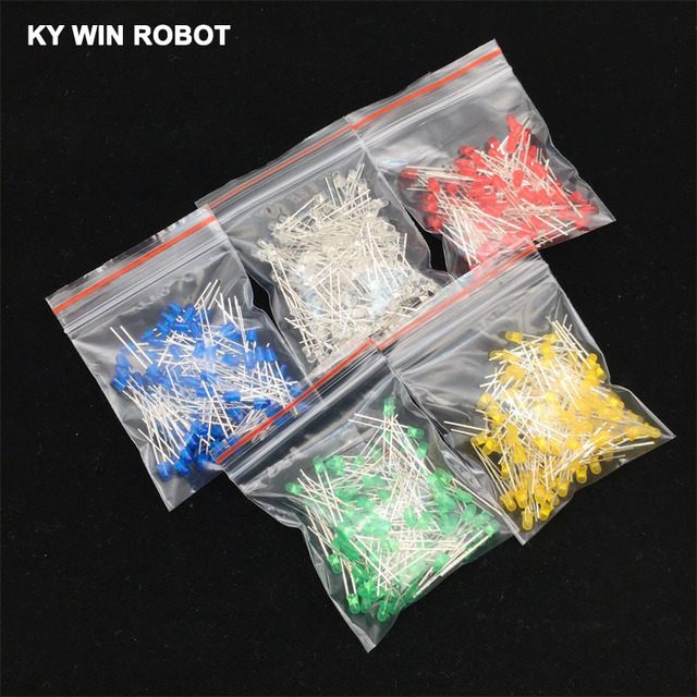 100pcs 3mm LED Diode 3 mm Assorted Kit White Green Red Blue Yellow DIY Light Emitting Diode