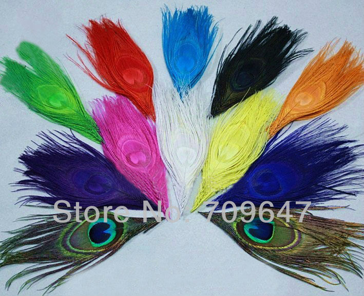 Hot 50Pcs Lot Dyed Multicolor Peacock Eye Feather Peacock Feather Eyes Lenghth 12 0 15 0cm Eye 2 5 3 5cm FREESHIPPING in Feather from Home Garden