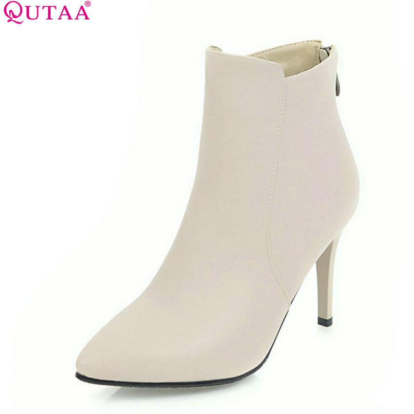 QUTAA 2018 Women Ankle Boots Fashion Zipper Womne Shoes All Match Pu Leather Thin High Heel Pointed Toe Women Boots Size  34-43 arrylinfashion british fashion all match ankle boots top leather autumn botas femininas pointed toe charming thin high heels