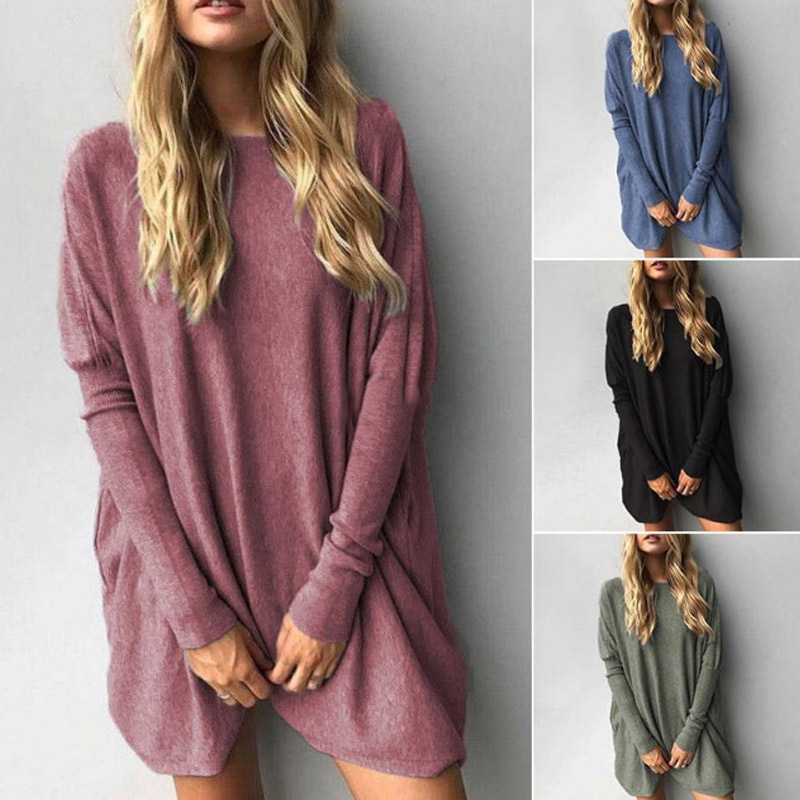 Women Autumn T-shirts Long Sleeves Round Neck Loose Long Casual Female Tops SSA-19ING