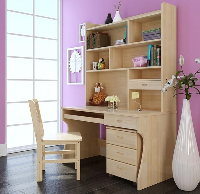 solid wood desk bookcase chair combination in computer