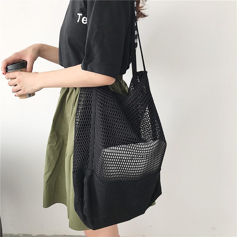 eb37f1c28e21 2019 Новая модная трендовая сетчатая полая многоразовая сумка для покупок  Складная Холщовая Сумка на плечо большая емкость сумка для покупок.