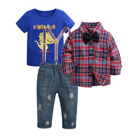 Toddler Boy Clothes Sets Kids Clothes Autumn Winter Children Clothing Boy Sets 3PCS Gentleman Suit +T shirt+Jeans Outfits Suits