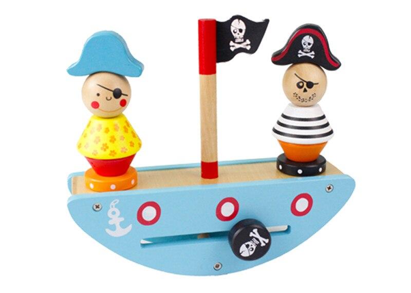 Nouveau jouet en bois bateau pirate jeu équilibré géométrie entangle illumination blocs préscolaires bébé jouet éducatif livraison gratuite