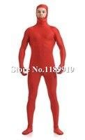 NOWY Unicolor Elastan Otwórz Twarzy Full Body red Lycra Zentai Unisex Garnitury S-XXL