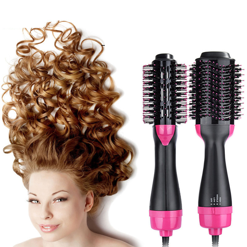 2 In 1 Electric Pro Hair Dryer Brush Curling Iron Hair Curler Ions Ceramic Rotating Hairdryer Comb Blow Dryer Hair Styling Tool Revlon Pro Collection Salon One-Step Hair Dryer and Volumizer