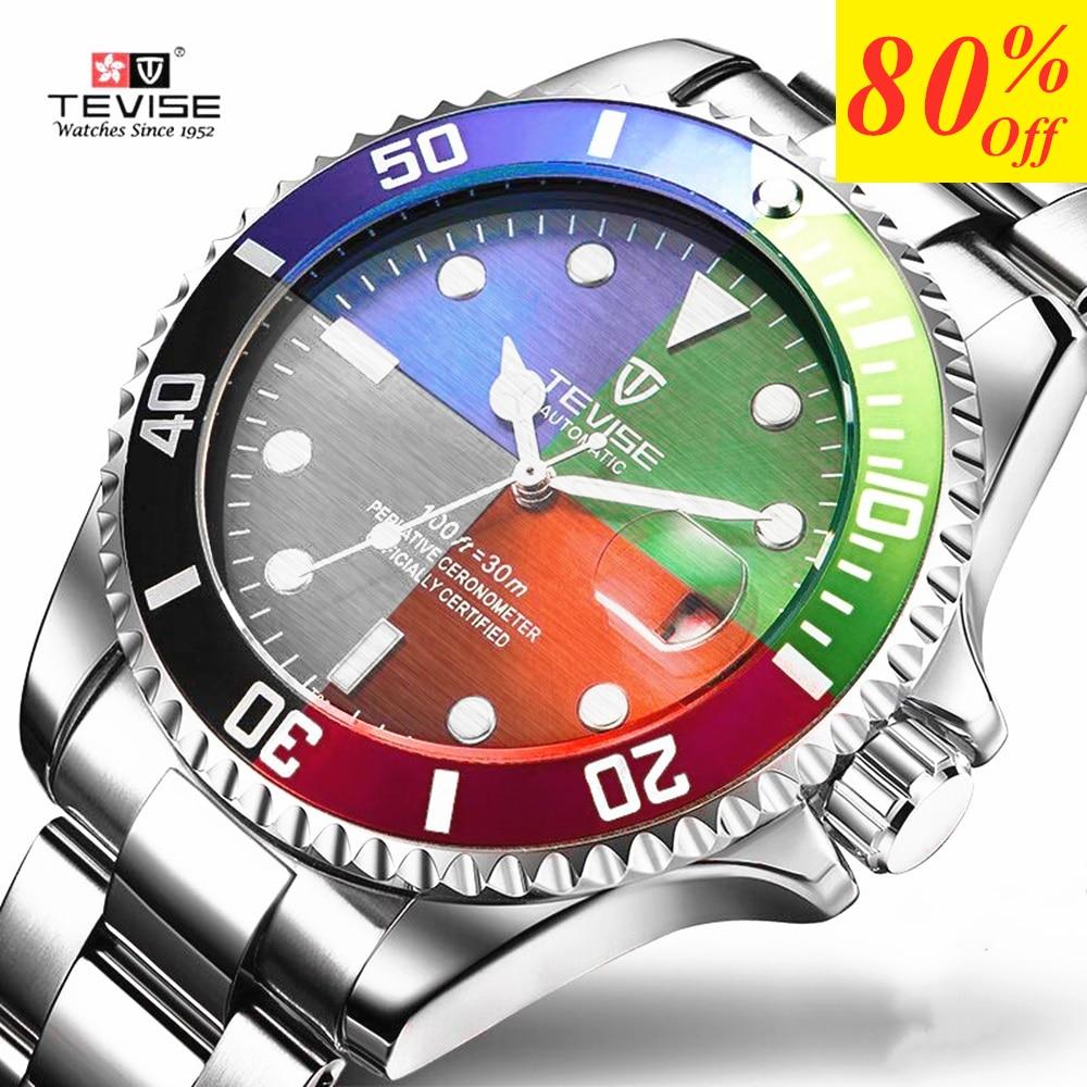TEVISE Moda Mens Relógios Top Marca de Luxo Relógio de Quartzo Ocasional Relógio Do Esporte Dos Homens de Aço Inoxidável À Prova D' Água Relogio masculino