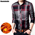 Mountainskin 4XL Winter New Men's Plaid Shirt Cotton Casual Shirt Thick Fleece Warm Brand Clothing Slim Fit Men's Clothes,SA100