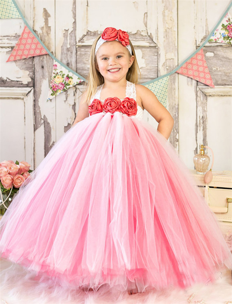 Pink Puffy Tulle Ball Gowns Girl Pageant Dress Kids Pretty First Communion Dresses Lovely Flower Girl Dress For Wedding Party children flower girl dresses white lace embroidery kids party wedding pageant ball gowns for girls first communion dress custom