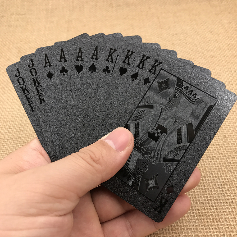 Golden Poker Waterproof Black Plastic Playing Cards Collection Black Diamond Poker Cards ...