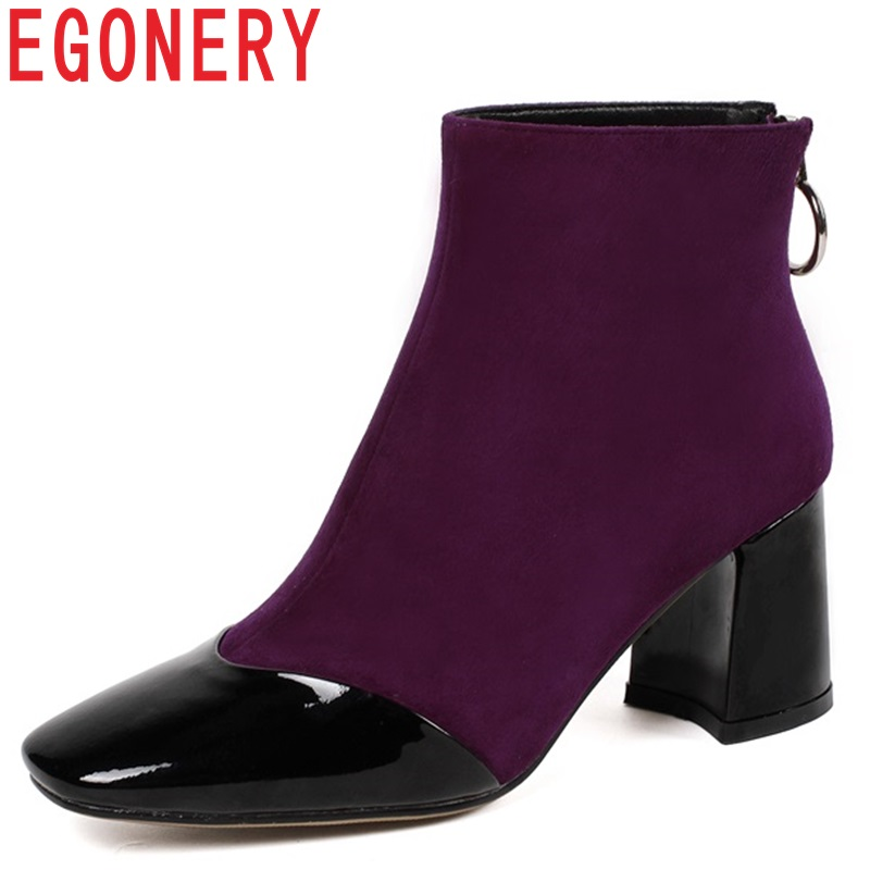 цены EGONERY newest fashion sexy cow suede and patent leather ankle boots high hoof heels square toe zipper three colors women shoes