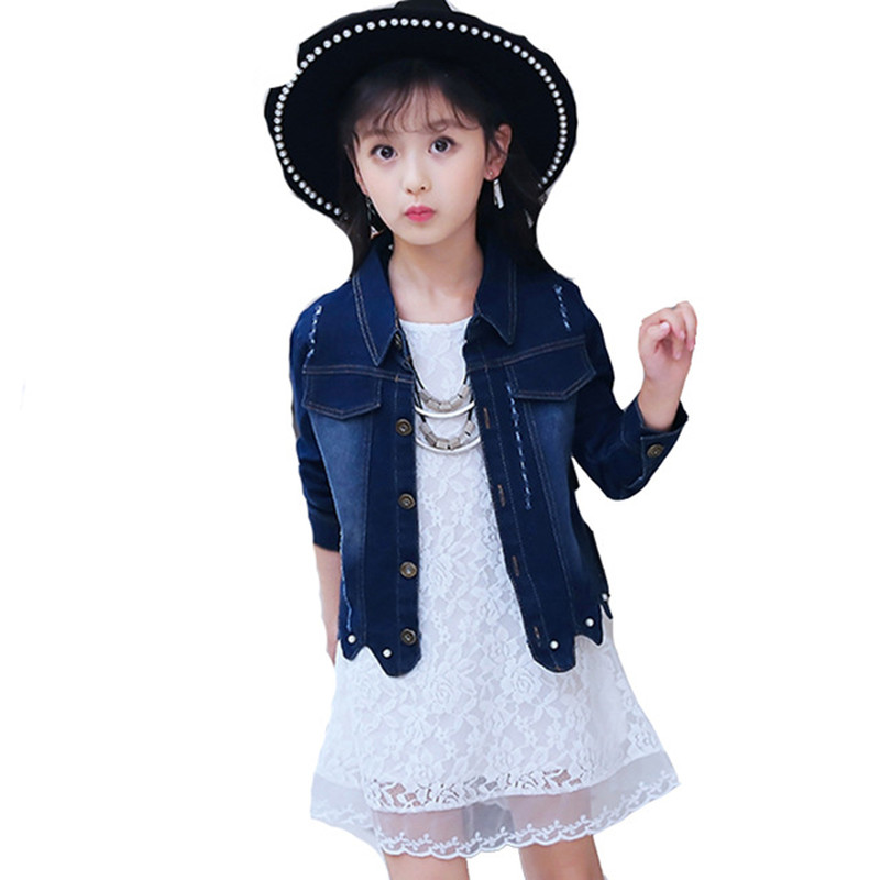 Baby Outfits for Girls White Dress & Denim Jackets Suits Infant Vestido Jeans Coat Clothes Sets 2-12 Years Kids Clothing Sets женское платье cowboy dress 2015 vestido feminino d5806 jeans clothes